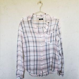 UO peach/gray plaid sheer summer button-down shirt